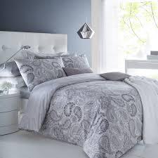 Pieridae Paisley Grey Duvet Cover & Pillowcase Set Bedding Digital