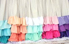 Pink Ruffled Window Curtains by Gold Dot And Ombre Ruffle Curtain Panels Set Of 2 Coral