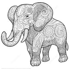 Click To See Printable Version Of Elephant Ethnic Zentangle Coloring Page