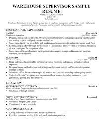 30 Cv For Warehouse Supervisor Suitable Resume Drupaldance Trends Infinite Though With