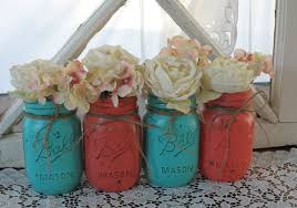 SALE 4 Pint Mason Jars Painted Jar Wedding