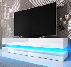 tv lowboard bird in weiß hochglanz 2 teilig 140 x 45 cm hängend mit beleuchtung