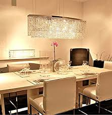 Siljoy Modern Crystal Chandelier Lighting Rectangular Oval Pendant Lights For Dining Room Kitchen Island L 374