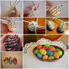 Easter Crafts Newspaper Woven Eggs