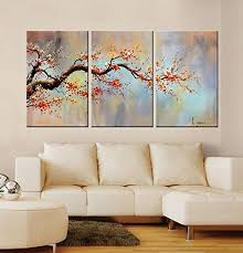 Modern 100 Hand Painted Flower Oil Painting On Canvas Orange Plum Blossom 3 Piece Gallery Wrapped Framed Wall Art Ready To Hang For Living Room