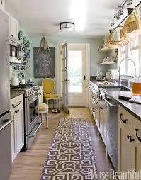 Cottage Galley Kitchen Small Kitchens Designs Contemporary Brown White Rug