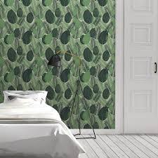 grüne dschungel tapete mit großen blättern exotische vlies tapete natur moderner wohnakzent für schlafzimmer