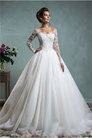 y Ball Gown f The Shoulder Tulle Lace Wedding Dress With Long