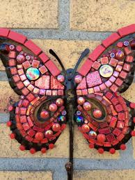 Butterfly Wall Art Glass Mosaic Outdoor Metal Red Yellow Orange Gold Housedecoration Gardendecoration