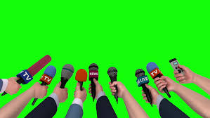 4K 0013 Microphones In The Hands Of Journalists On Green Background 3D Animation 18105565