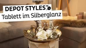 depot styles dekotablett im silberglanz weihnachtsdeko in silber und gold