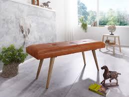 wohnling sitzbank salim ziegenleder massivholz bank im retro stil