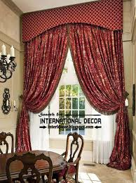 Classic Country Curtains For Dining Room Burgundy Floral Patterned Curtain Part 42