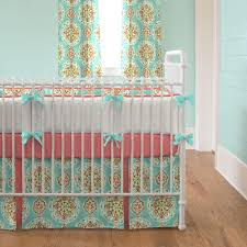 Teal And Coral Baby Bedding by Coral And Aqua Medallion Crib Bedding Baby Bedding