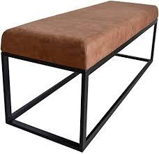 damiware couchy sitzhocker sitzbank esszimmer küche wohnzimmer 121 cm mikrofaser leder und metallbeine cognac