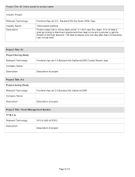 Sample Resume For Experienced Net Developer Templates Format Years Awesome