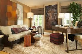 Exotic African Theme For Cozy Interior Space Rustic Stools And Wall Art Usher In The