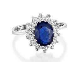 Diamond Ring With Sapphire Cluster Engagement 1ct Blue Gold Promise For Her Oval