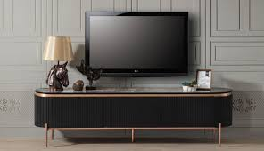 casa padrino luxus tv schrank schwarz kupferfarben 208 x 48 x h 57 cm fernsehschrank mit 4 türen und glasplatte in marmoroptik luxus wohnzimmer