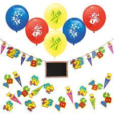 oblique unique schuleinführung schulanfang einschulung deko set luftballons girlande konfetti