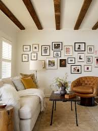 Picture Frame Wall Collage Ideas Living Room Rustic With Leather Arm Chair