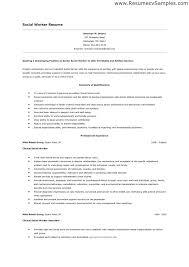 Sample Resumes For Social Workers Resume Format Worker Work