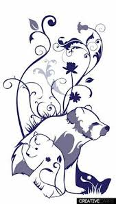 Mother Bear And Cubs Black White Clipart