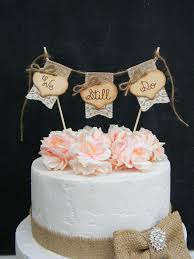 We Still Do Cake Topper Burlap Lace Bunting Flags Banner Wood Hearts Rustic Country Shabby Chic Vow Renewal Anniversary