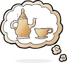 Cartoon Coffee Pot And Cup With Thought Bubble