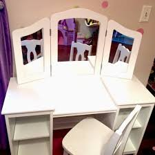 girls vanity makeup dressing table kidkraft deluxe chair white