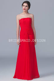 straight across pleated strapless red chiffon modern bridesmaid