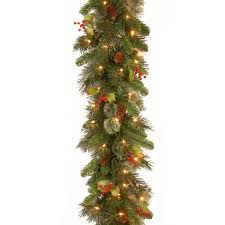Dunhill Fir Pre Lit Christmas Tree by Wintry Pine 9ft Pre Lit Christmas Garland Charlies Direct
