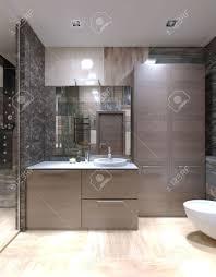 hellbraun möbel in fremden badezimmer hohe decken mit halogenlen gemischte fliesen auf wänden und separater dusche mit glastür 3d übertragen