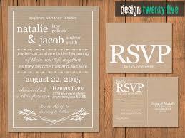 Rustic Wedding Invitation Suite RSVP Card Kraft Paper PRINTABLE