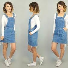 Vintage 1980s Suspender LEVIS STRAUSS Blue Denim JUMPER Dress Extra Small Medium