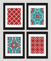 Red And Turquoise Decor Set Of 4 8x10 Art Prints By Inkandnectar 4500 Aqua KitchenBrown