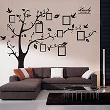 Wall Decals Art Stickers Waterproof Huge Size Family Photo Frame Tree And Birds Pattern