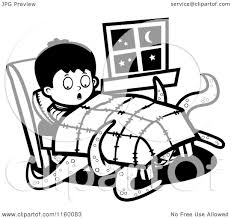 Cartoon Clipart Of A Black And White Tentacled Monster Emerging From Under Boys Bed