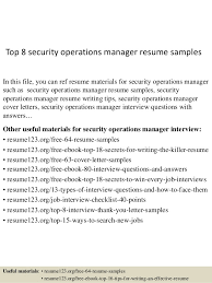 Top 8 Security Operations Manager Resume Samples In This File You Can Ref Materials