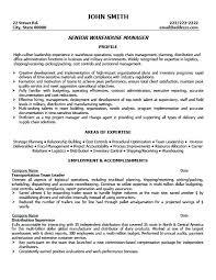 Sample Resume For Warehouse Supervisor Pleasant Design Manager 6 Senior