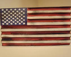 Wood American Flag Mancave Decor Rustic Mantle Distressed