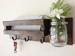 Rustic Mail Organizer Key Rack With Mason Jar Wall