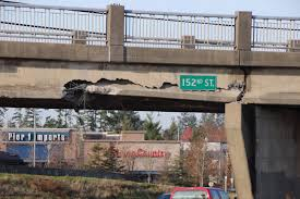 100 Truck Hits Overpass Hits 152nd Street Overpass In Surrey Traffic Being Diverted