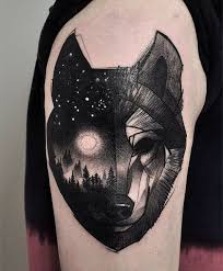 Dark Wolf Tattoo For Guys On The Arm