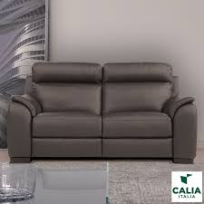 Calia Italia Serena 2 Seater Power Recliner Grey Italian Leather Sofa |  Costco UK