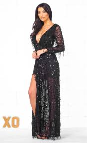 indie xo more than a dream black sequin fringe long sleeve plunge