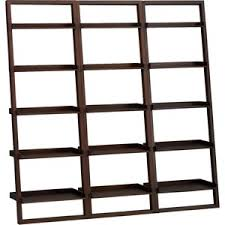 crate barrel sloane java 25 5 leaning bookcase set of thr