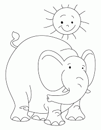 Elephant With The Sun Coloring Page