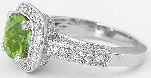 Natural Peridot And Diamond Rings Cushion Cut