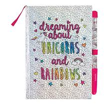 Unicorns Rainbows Glitter Journal With Pen